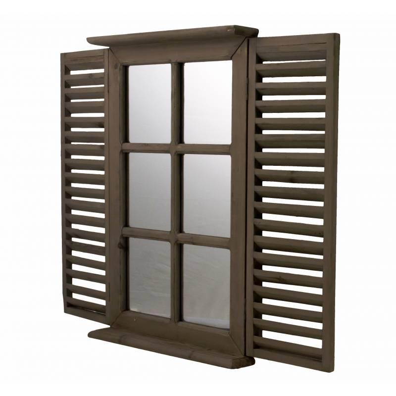 Miroir style fen tre 2 volets persiennes en bois marron for Encadrement de miroir en bois