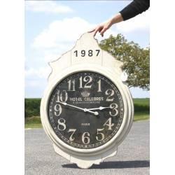 Grande Pendule Murale Horloge Géante en Bois Gris et Noir 5x69x102cm