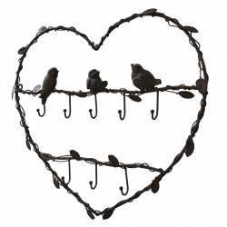 Porte Clés Mural Cœur et Oiseaux en Fer