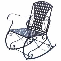 Rocking chair Fer Patiné Marron