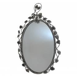 Miroir Ovale en Fer Patiné Gris