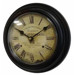Horloge Murale en Fer Noir avec Vitre en Plexiglass Pendule de Cuisine Chef Le Normand 21x21cm