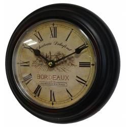 Horloge Murale en Fer Noir avec Vitre en Plexiglass Pendule de Cuisine Chateau Delafont Bordeaux 21x21cm