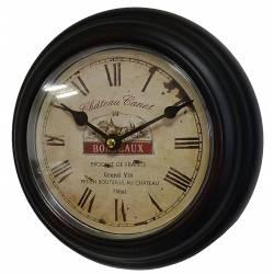 Horloge Murale en Fer Noir avec Vitre en Plexiglass Pendule de Cuisine Chateau Canet Bordeaux 21x21cm