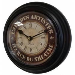 Horloge Murale en Fer Noir avec Vitre en Plexiglass Pendule de Cuisine Café Des Artistes 21x21cm