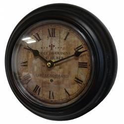 Horloge Murale en Fer avec Vitre en Plexiglass Pendule de Cuisine Ecole de Cuisine Chef Le Normand 21x21cm
