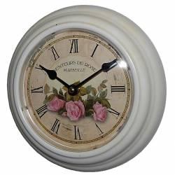 Horloge Murale en Fer Blanc avec Vitre en Plexiglass Pendule de Cuisine Senteurs De Rose Marseille 21x21cm