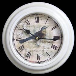 Horloge Murale en Fer Blanc avec Vitre en Plexiglass Pendule de Cuisine Motif Oiseau 21x21cm