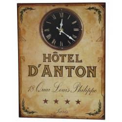 Horloge sur Plaque Métal Publicitaire Rectangulaire Pendule Murale Hotel D'Anton 3x25x33cm
