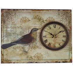Horloge sur Plaque Métal Publicitaire Rectangulaire Pendule Murale Oiseau 3x25x33cm