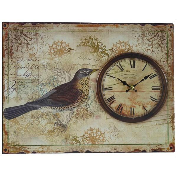 Horloge Plaque Métal Oiseau