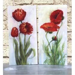 Lot de 2 Tableaux Toiles Imprimées sur Cadre en Bois Motifs Coquelicots 2,50x38x78,50cm