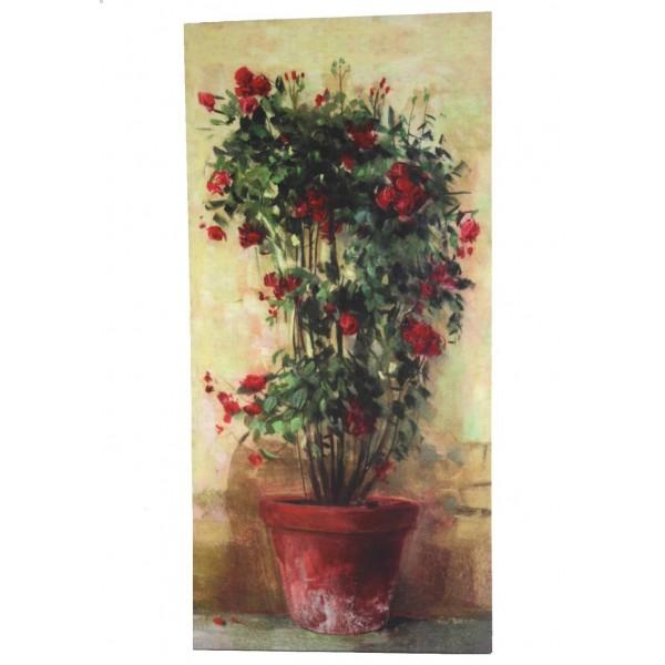 Grand Tableau Mural ou à Poser au Motif Floral Rosier en Pot Toile Imprimée sur Cadre en Bois 2,50x38x78,50cm