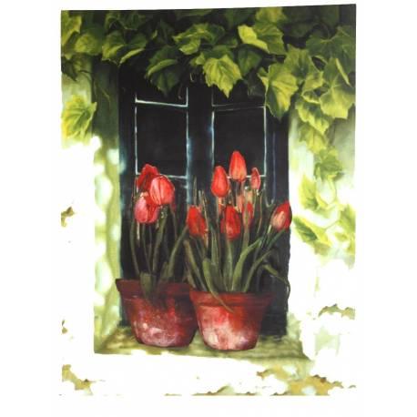 Moyen Tableau Cadre Mural en Bois avec Impression sur Toile Motifs Floral Tulipes en Pot sur Fenêtre 2,50x50x70cm