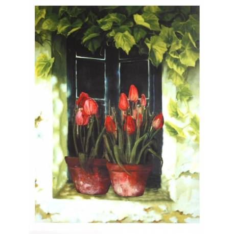 Petit Tableau Cadre Mural en Bois avec Impression sur Toile Motifs Floral Tulipes en Pot sur Fenêtre 2x35x45cm