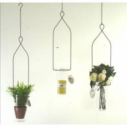 Set de Moyens Photophores à Suspendre ou Porte Bougies Chandelles Vases Soliflores en Verre et Fer Patiné Marron 12,5x12,5x89cm