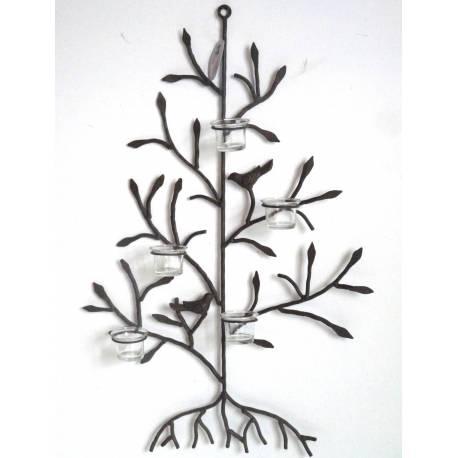 Applique Bougeoir Murale Style Arbre de Vie ou Candélabre à Fixer à 5 Verrines en Fer Patiné Marron 8,5x52x74cm