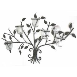 Applique Bougeoir Mural Style Arbre de Vie Candélabre Décoratif à Fixer à 5 Verrines en Fer Patiné Marron 8x40x62cm