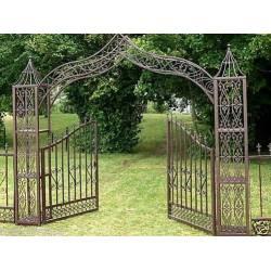 Grand Portail Décoratif Porte Arche de Jardin Séparation Clôture en Fer et Fonte 5m25