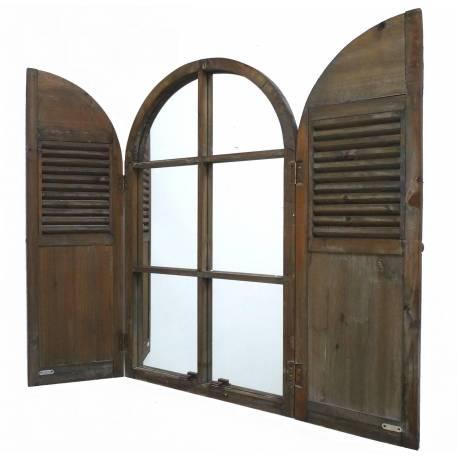 Grand Miroir Style Ancienne Fenêtre à 2 Volets Grande Glace Murale en Bois 5x54x88cm