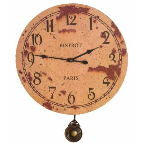 Horloge Murale de Salon en Bois Pendule à Balancier de Cuisine Bistrot Paris 3x46x58cm