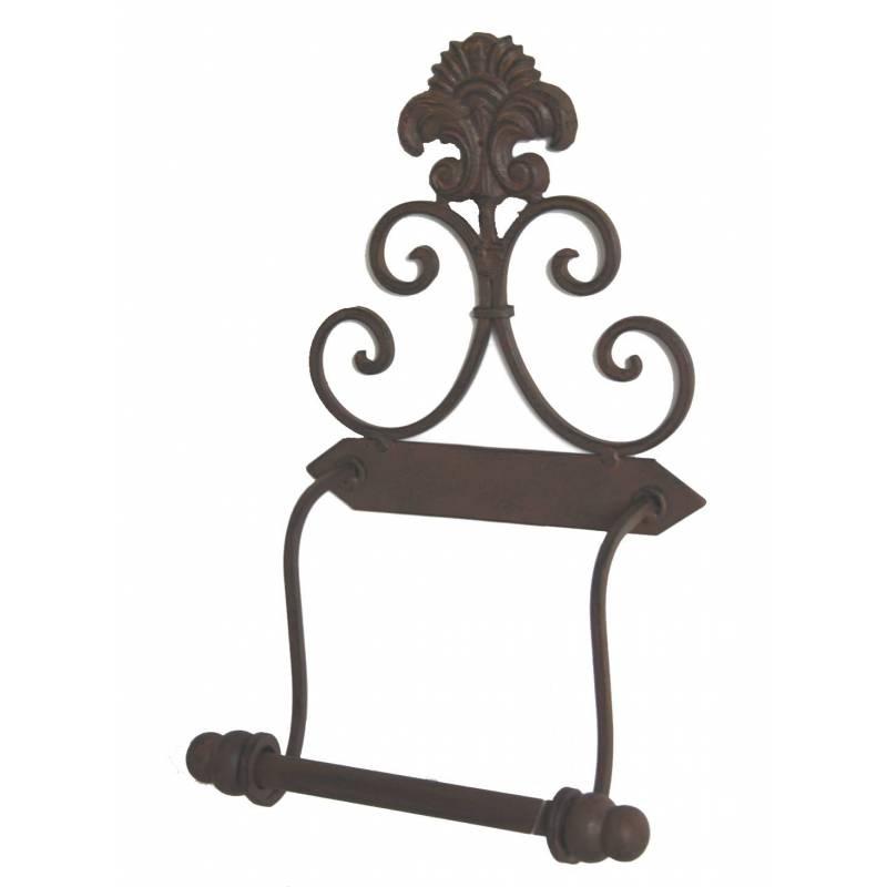 Porte papier toilette mural motif fleur de lys ou d roule for Salle de bain fer forge