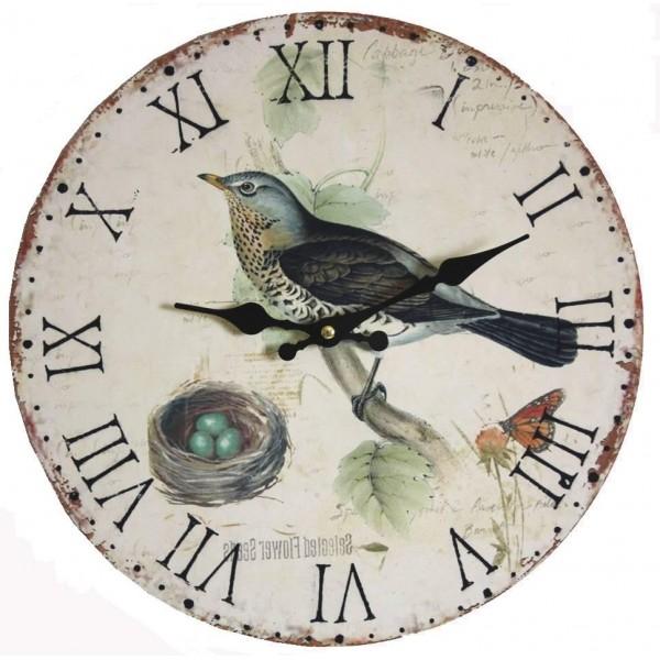 Horloge Murale Pendule Ronde de Cuisine ou Salon en Bois et Papier Oiseau Bleu 4x34x34cm
