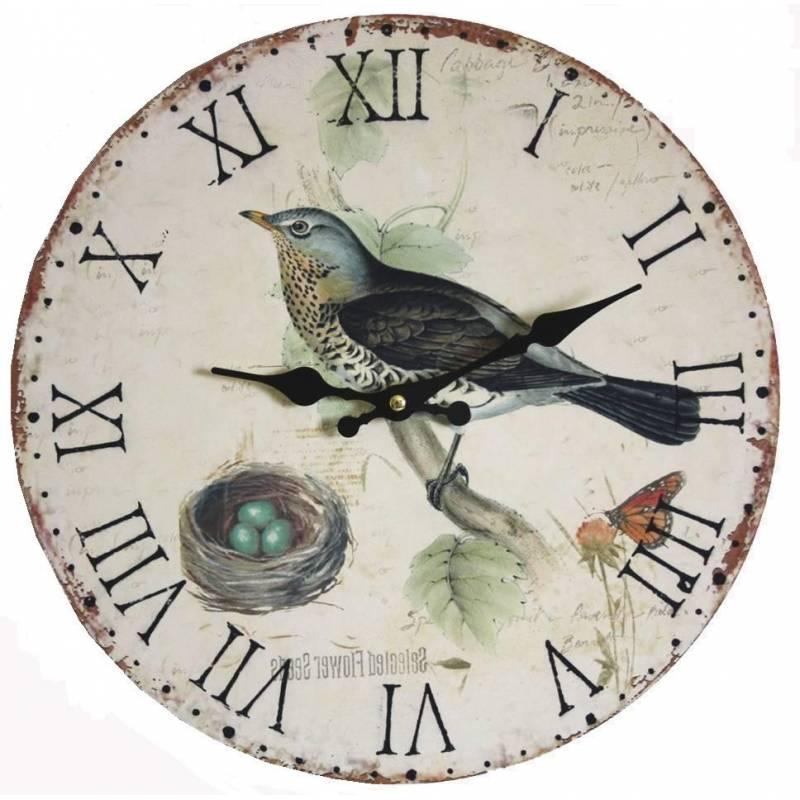 Horloge murale pendule ronde de cuisine ou salon en bois - Pendule murale de cuisine ...