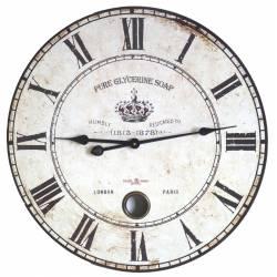 Horloge Murale de Salon en Bois Pendule à Balancier de Cuisine Pure Glycerine 4x58x58cm