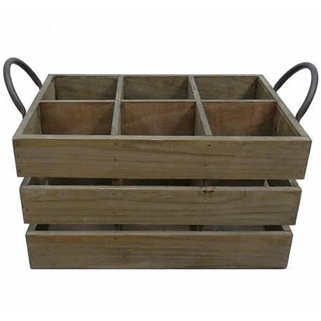 Casier à Vin Range Bouteilles 6 Compartiments Caisse en Bois 22x23,5x37,5cm