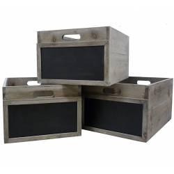 Lot de 3 Caisses Casiers à Bouteilles Cagettes à Légumes Cageots de Rangement en Bois avec Ardoise 25x35x45cm