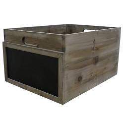 Caisse Casier à Bouteilles Cagette à Légumes Cageot de Rangement en Bois avec Ardoise 25x35x45cm