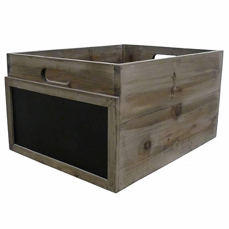 caisse casier bouteilles cagette l gumes cageot de rangement en bois avec ardoise 25x35x45cm. Black Bedroom Furniture Sets. Home Design Ideas