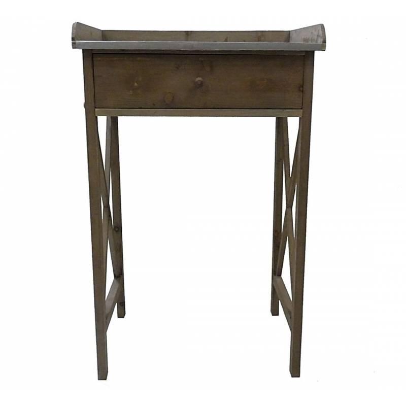 meuble d 39 appoint console 1 tiroir en bois et zinc desserte de cuisine table de rempotage. Black Bedroom Furniture Sets. Home Design Ideas
