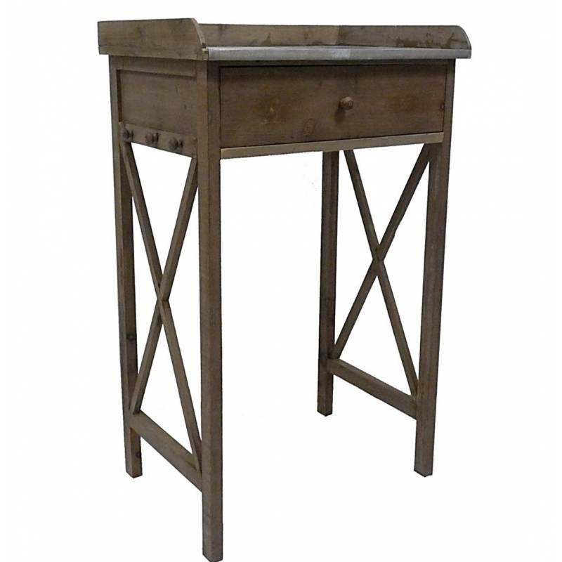 Amazing meuble duappoint console tiroir en bois et zinc for Meuble de cuisine avec table escamotable