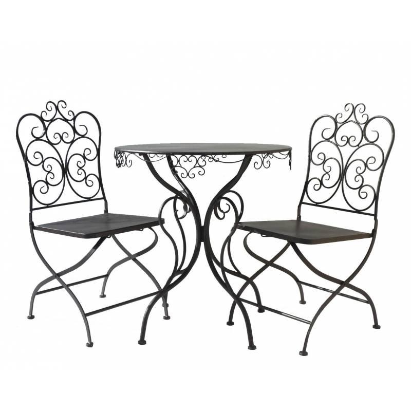 Salon de jardin rond 2 personnes salon de the bistrot 1 table 2 chaises en fer m ebay - Salon de jardin style bistrot ...