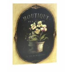 Grand Tableau Cadre Mural en Bois avec Impression sur Toile Motifs Floral Fleur Orchidée en Pot 2,50x50x70cm