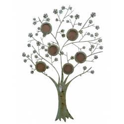 Applique Arbre de Vie Cadre Mural à Poser Porte Photographies à Suspendre Motifs Floraux en Fer Patiné Vert 1x86x123cm