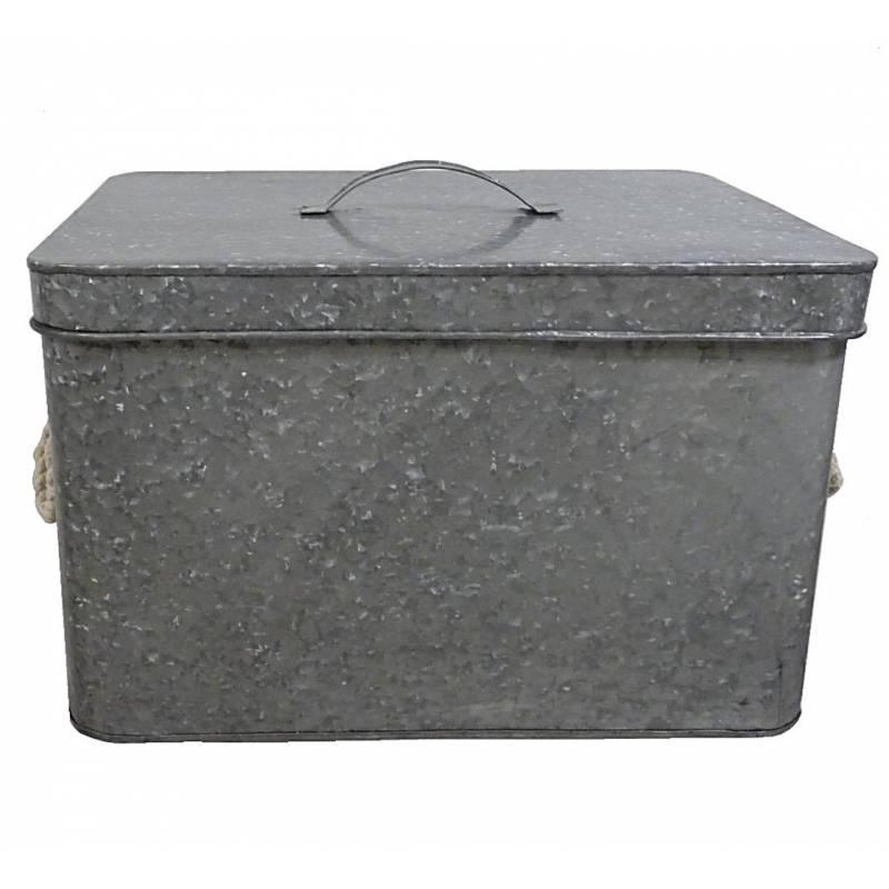 tr s grande boite cantine de rangement m tallique malle jouets coffre photos valise voyage zinc. Black Bedroom Furniture Sets. Home Design Ideas