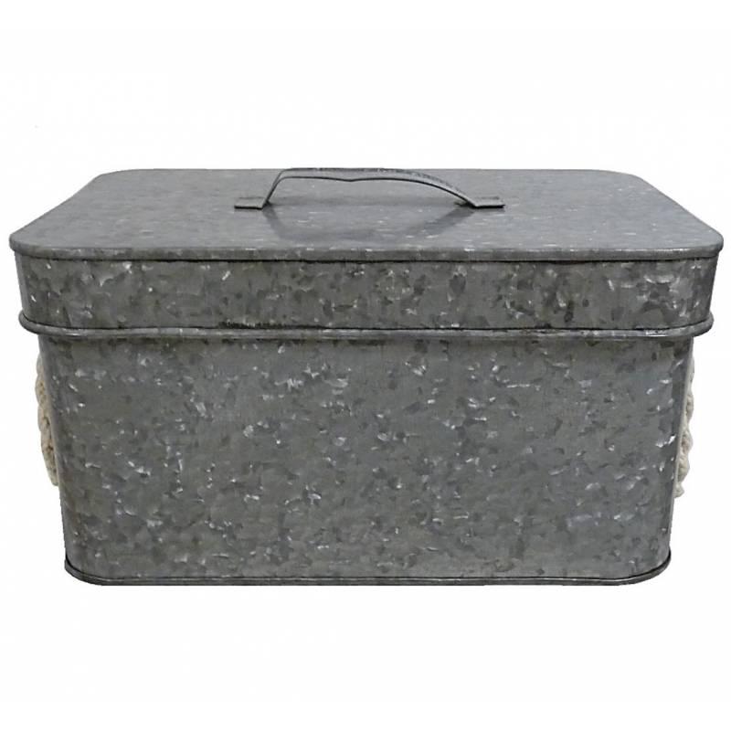 petite boite cantine de rangement m tallique malle jouets coffre photos valise voyage zinc 16x20. Black Bedroom Furniture Sets. Home Design Ideas