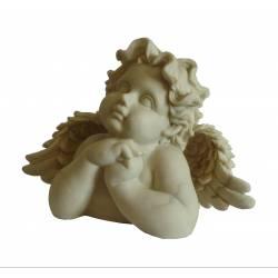 Statuette Ange Rêveur à Poser en Résine Ton Pierre 12x19x25cm