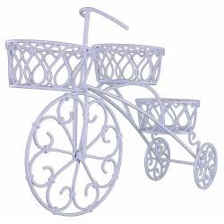 Bicyclette Vélo Porte Plante ou Pot de Fleur Jardinière Bac à Fleurs à 3 Panières en Fer Blanc 17x41x64cm