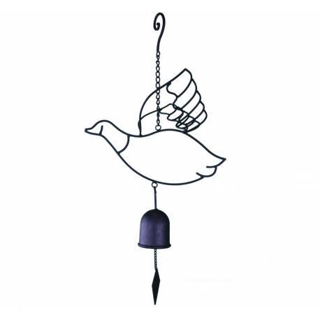 Cloche ou Décoration Murale Motifs Oiseaux et Oies à Suspendre en Fer et Fonte Patiné Noir 7x7x65cm