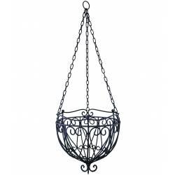 Grande Jardinière Corbeille Cache Pot Suspendue ou Lustre pour Végétaux Style Chandelier en Fer Patiné Noir 29,5x29,5x80cm