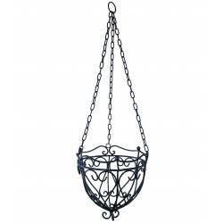 Petite Jardinière Corbeille Cache Pot Suspendue ou Lustre pour Végétaux Style Chandelier en Fer Patiné Noir 24,5x24,5x75cm
