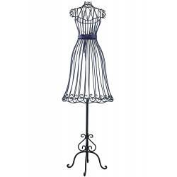 Grand Buste de Couture Mannequin Porte Bijoux ou Robe de Mariée sur Pied en Fer Patiné Noir 34x48x154cm