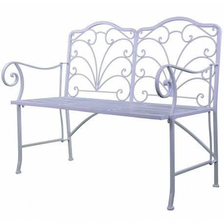 Chaise Double Banc Pliable Banquette de Jardin en Fer Blanc Assise 2 Places 52x92x111cm