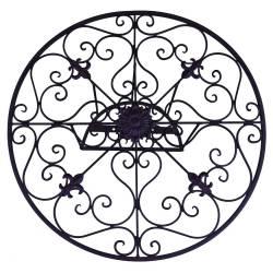 Déroule Tuyaux Motif Fleur de Lys Mural ou Enrouleur Conduit Arrosage Extérieur à Fixer en Fer Patiné Noir 25x60x60cm