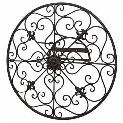 Déroule Tuyaux Motif Fleur de Lys Mural ou Enrouleur Conduit Arrosage Extérieur à Fixer en Fer Patiné Marron 16,5x40x40cm