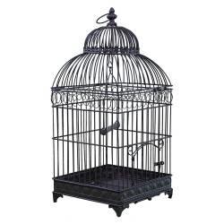 Petite Cage à Oiseaux de Jardin Intérieur Extérieur Carrée en Fer Patiné Marron 16x16x42cm